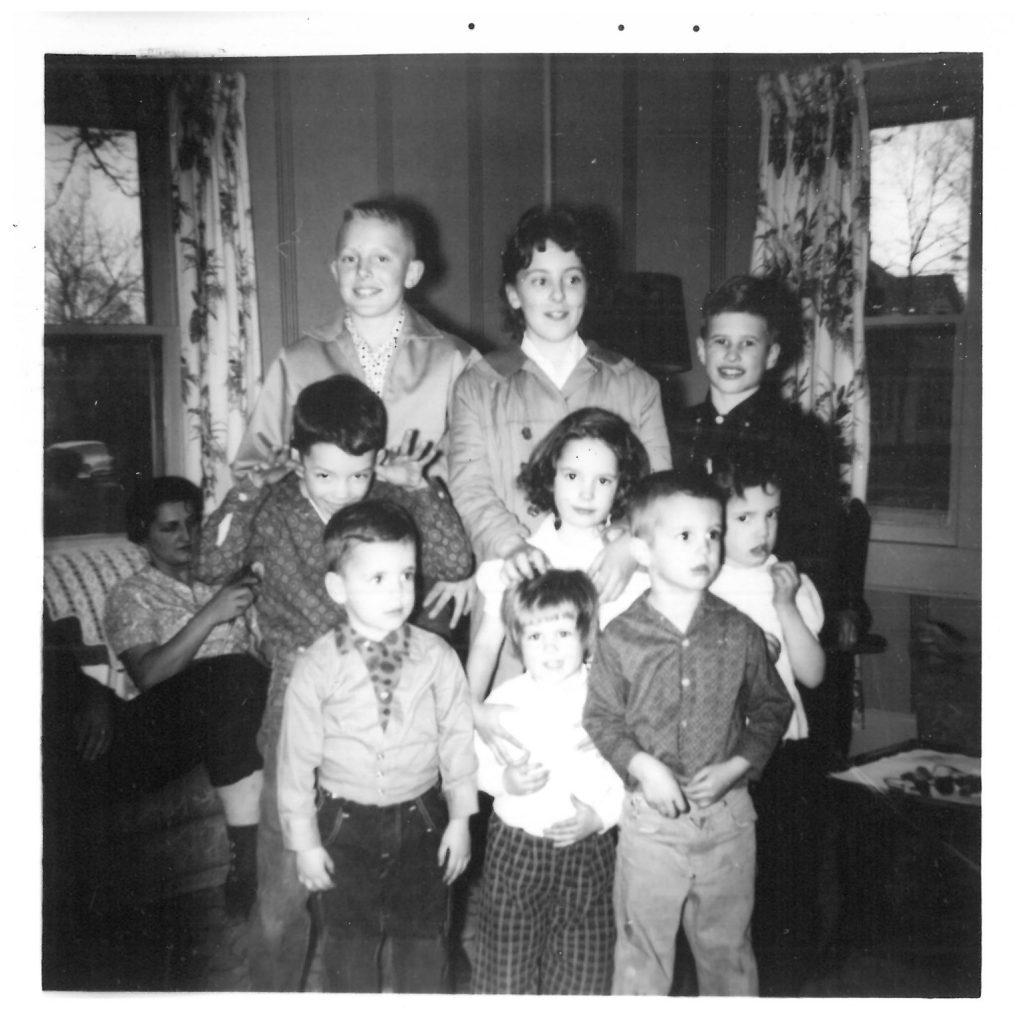 Front row: Steven, Cathy, Brian 2nd Row: Arlene, Dad, Linda, Susan 3rd Row: Tom, Carol, David